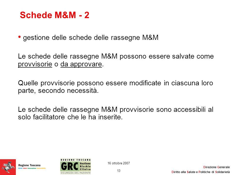 Direzione Generale Diritto alla Salute e Politiche di Solidarietà 13 16 ottobre 2007 Schede M&M - 2 gestione delle schede delle rassegne M&M Le schede