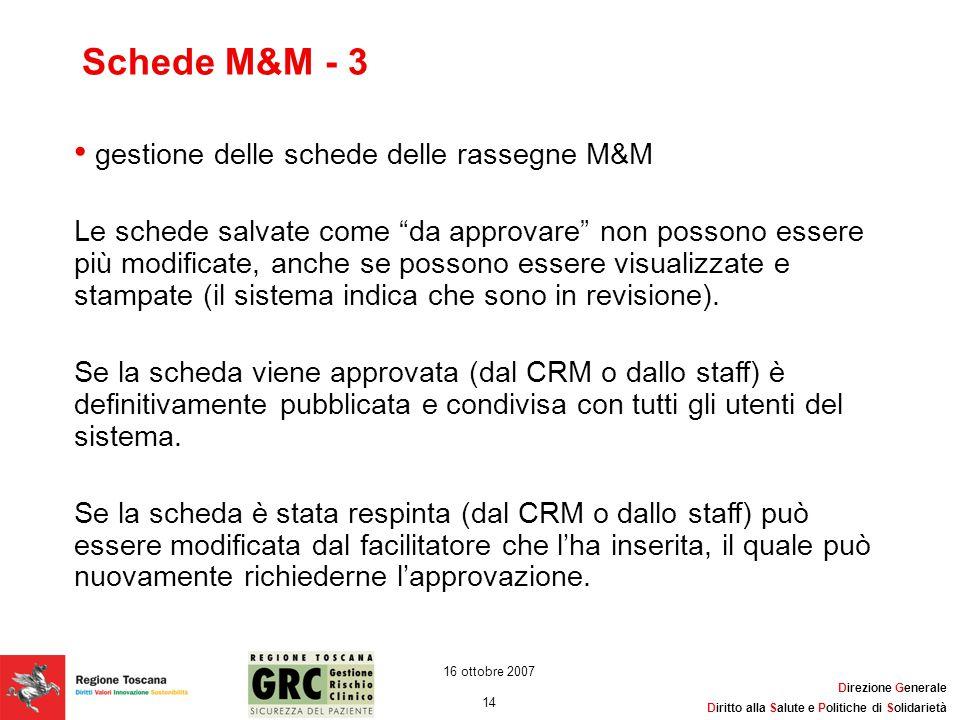 Direzione Generale Diritto alla Salute e Politiche di Solidarietà 14 16 ottobre 2007 Schede M&M - 3 gestione delle schede delle rassegne M&M Le schede