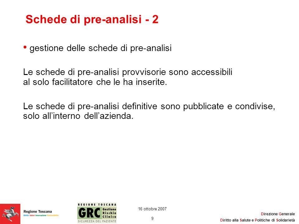 Direzione Generale Diritto alla Salute e Politiche di Solidarietà 9 16 ottobre 2007 Schede di pre-analisi - 2 gestione delle schede di pre-analisi Le