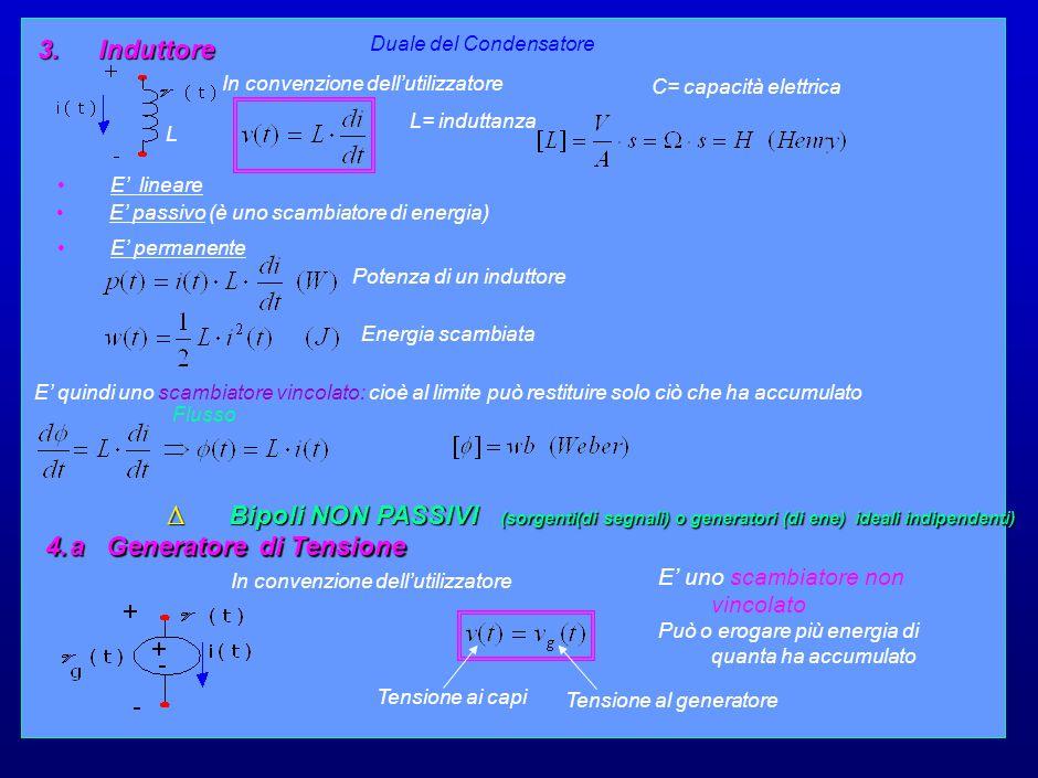 11 3. Induttore In convenzione dell'utilizzatore C= capacità elettrica Duale del Condensatore L= induttanza E' lineare E' passivo (è uno scambiatore d