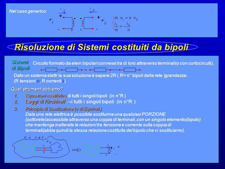 16 Nel caso generico: Sistemi di Bipoli Circuito formato da elem bipolari connessi tra di loro attraverso terminali(o con cortocircuiti).