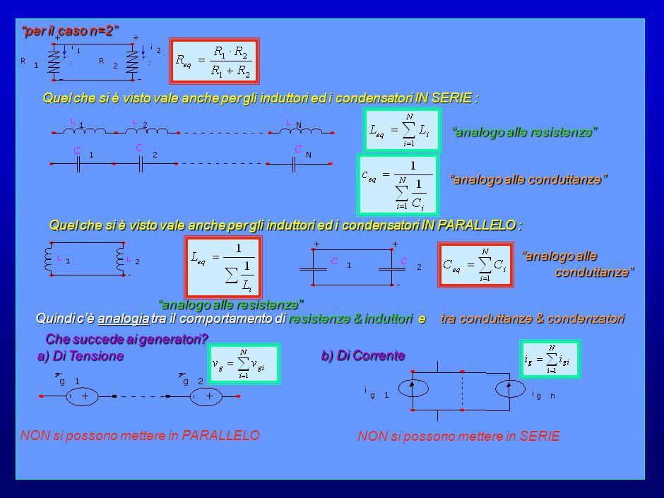 18 per il caso n=2 Quel che si è visto vale anche per gli induttori ed i condensatori IN SERIE : analogo alle resistenze analogo alle conduttanze Quel che si è visto vale anche per gli induttori ed i condensatori IN PARALLELO : analogo alle conduttanze analogo alle resistenze Quindi c'è analogia tra il comportamento di resistenze & induttori e tra conduttanze & condenzatori Che succede ai generatori.