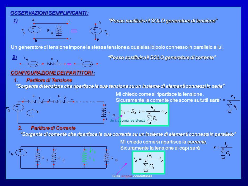 19 OSSERVAZIONI SEMPLIFICANTI : 1) Posso sostituirvi il SOLO generatore di tensione Un generatore di tensione impone la stessa tensione a qualsiasi bipolo connesso in parallelo a lui.
