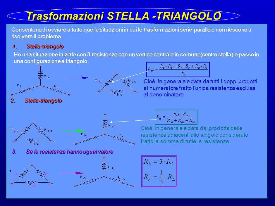 21 Trasformazioni STELLA -TRIANGOLO Consentono di ovviare a tutte quelle situazioni in cui le trasformazioni serie-parallelo non riescono a risolvere il problema.