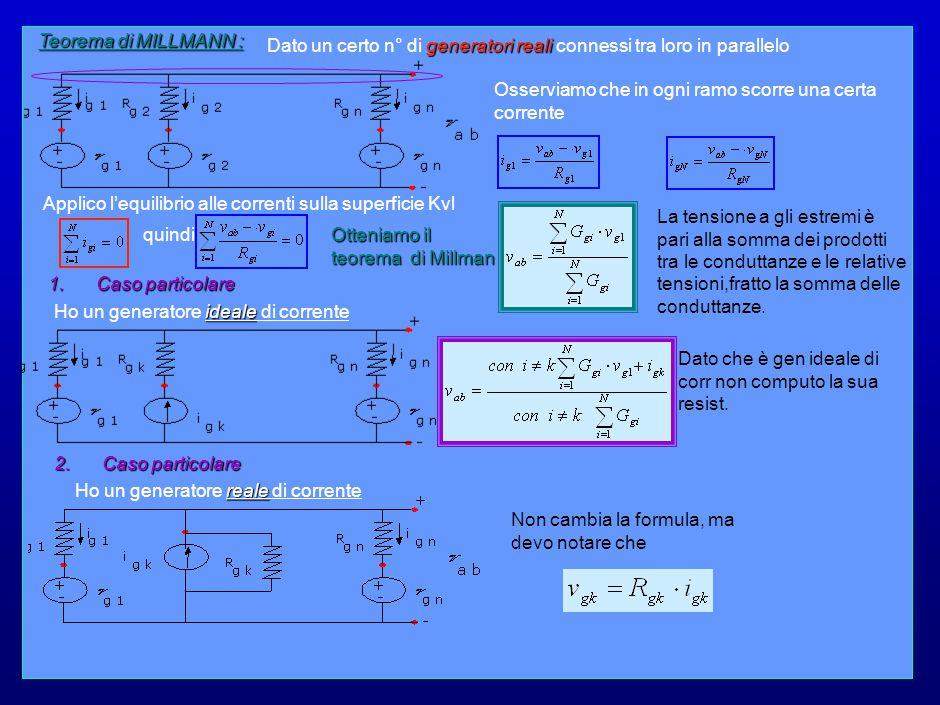 22 Teorema di MILLMANN : Osserviamo che in ogni ramo scorre una certa corrente generatori reali Dato un certo n° di generatori reali connessi tra loro in parallelo Applico l'equilibrio alle correnti sulla superficie Kvl La tensione a gli estremi è pari alla somma dei prodotti tra le conduttanze e le relative tensioni,fratto la somma delle conduttanze.