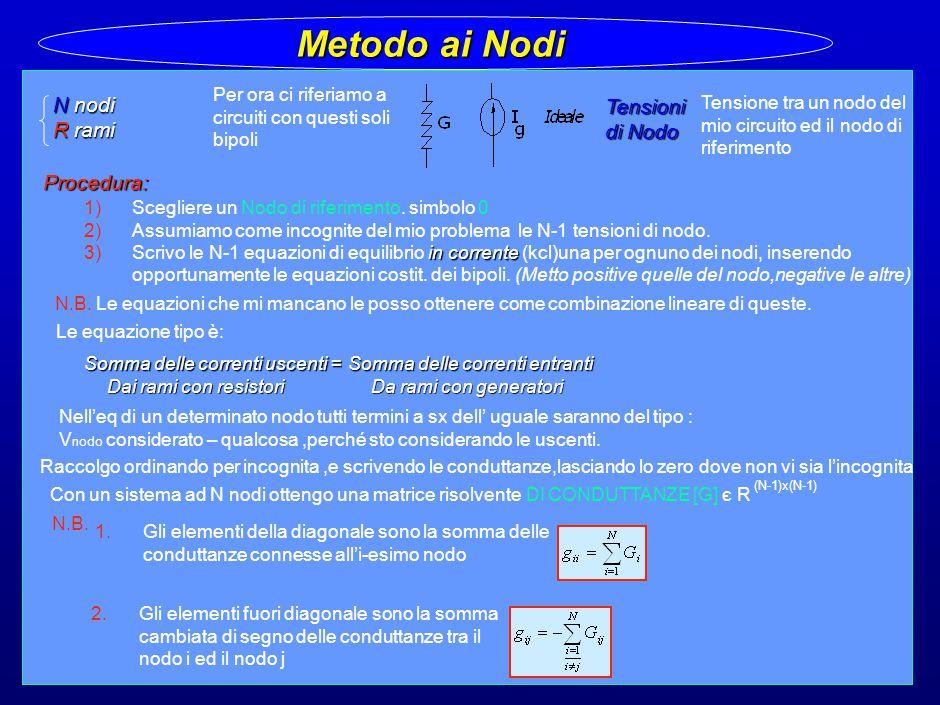 27 Metodo ai Nodi N nodi R rami Per ora ci riferiamo a circuiti con questi soli bipoli Procedura: 1)Scegliere un Nodo di riferimento.