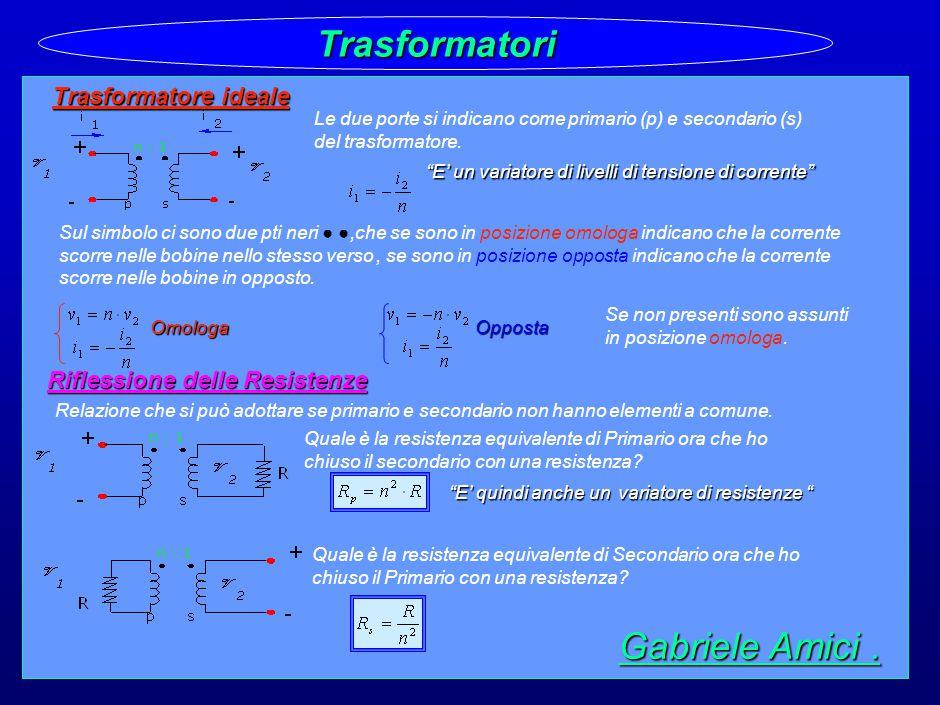 32 Trasformatori Trasformatore ideale Le due porte si indicano come primario (p) e secondario (s) del trasformatore.