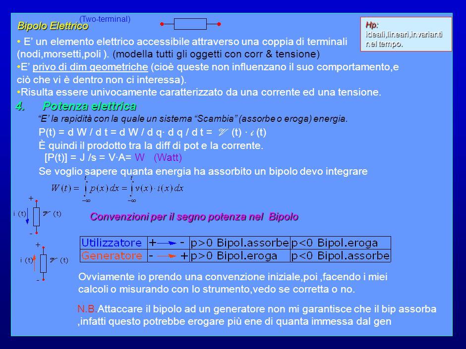 4 Principio di conservazione dell' Energia In un sistema elettrico costituito da un numero qualsiasi di bipoli elettrici ( elem.fondamentali ) per i quali sia assunta una stessa convenzione,la somma della potenza tra loro scambiata è zero.