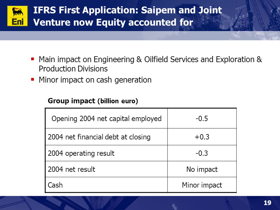 19 IFRS First Application: Saipem and Joint Venture now Equity accounted for  Main impact on Engineering & Oilfield Services and Exploration & Produc