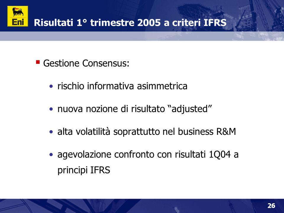 26 Risultati 1° trimestre 2005 a criteri IFRS  Gestione Consensus: rischio informativa asimmetrica nuova nozione di risultato adjusted alta volatilità soprattutto nel business R&M agevolazione confronto con risultati 1Q04 a principi IFRS