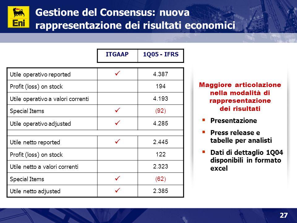 27 Gestione del Consensus: nuova rappresentazione dei risultati economici Maggiore articolazione nella modalità di rappresentazione dei risultati  Pr