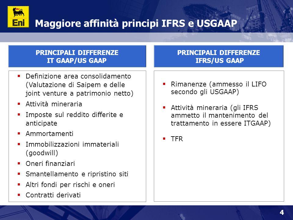 4  Definizione area consolidamento (Valutazione di Saipem e delle joint venture a patrimonio netto)  Attività mineraria  Imposte sul reddito differite e anticipate  Ammortamenti  Immobilizzazioni immateriali (goodwill)  Oneri finanziari  Smantellamento e ripristino siti  Altri fondi per rischi e oneri  Contratti derivati  Rimanenze (ammesso il LIFO secondo gli USGAAP)  Attività mineraria (gli IFRS ammetto il mantenimento del trattamento in essere ITGAAP)  TFR Maggiore affinità principi IFRS e USGAAP PRINCIPALI DIFFERENZE IFRS/US GAAP PRINCIPALI DIFFERENZE IT GAAP/US GAAP