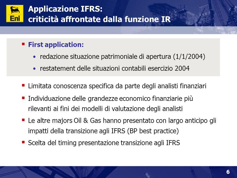 6 Applicazione IFRS: criticità affrontate dalla funzione IR  First application: redazione situazione patrimoniale di apertura (1/1/2004) restatement