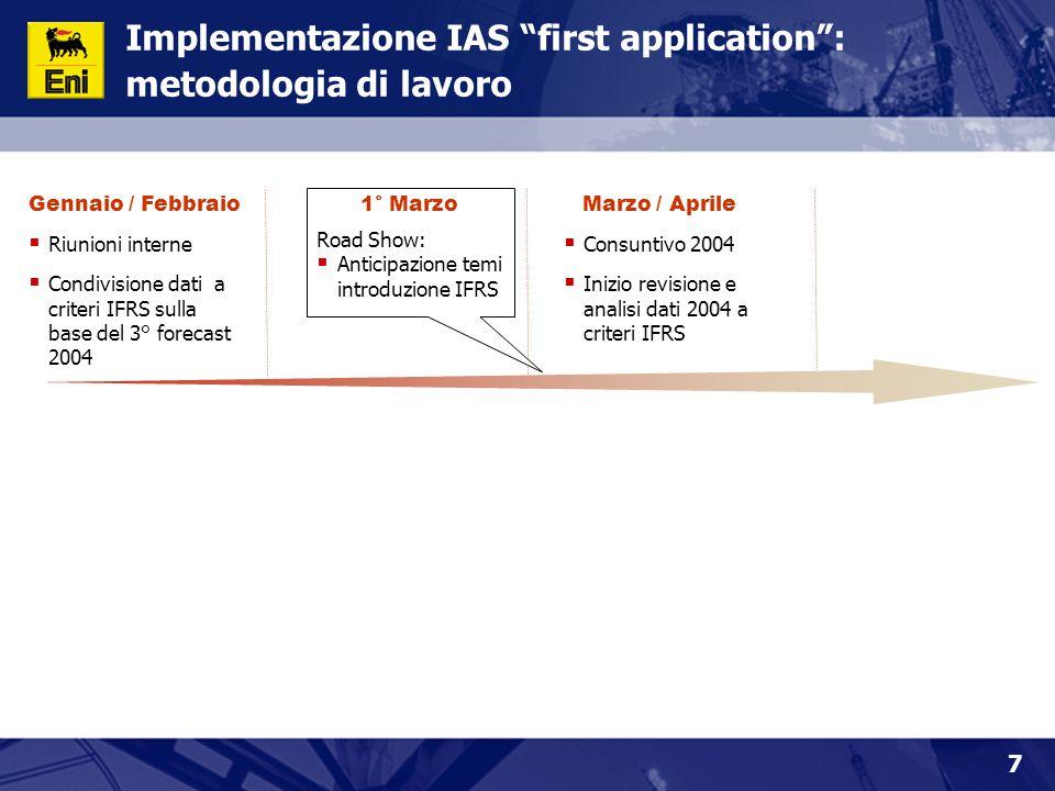 """7 Implementazione IAS """"first application"""": metodologia di lavoro Gennaio / Febbraio  Riunioni interne  Condivisione dati a criteri IFRS sulla base d"""