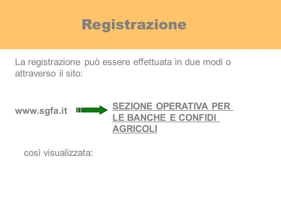 Registrazione www.sgfa.it SEZIONE OPERATIVA PER LE BANCHE E CONFIDI AGRICOLI La registrazione può essere effettuata in due modi o attraverso il sito: