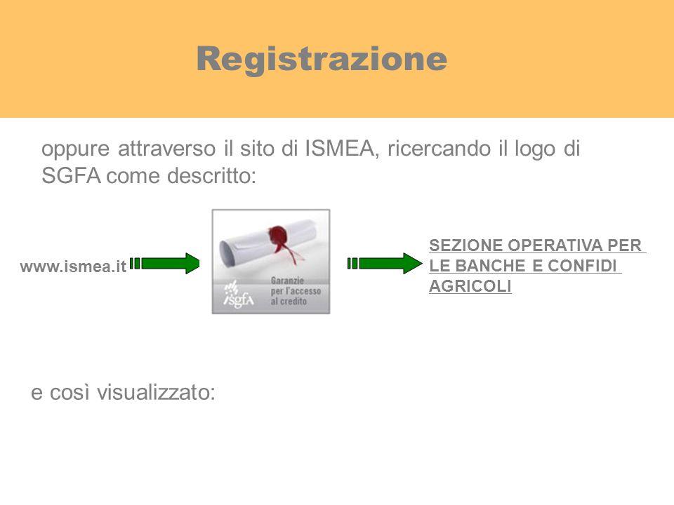www.ismea.it SEZIONE OPERATIVA PER LE BANCHE E CONFIDI AGRICOLI oppure attraverso il sito di ISMEA, ricercando il logo di SGFA come descritto: e così
