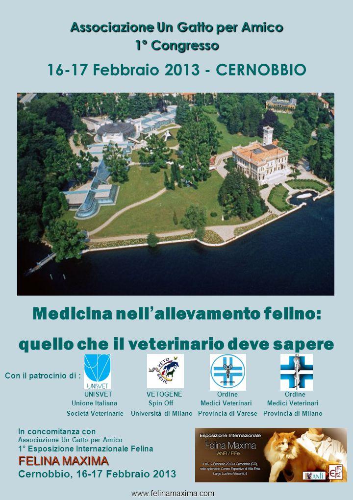 16-17 Febbraio 2013 - CERNOBBIO Medicina nell ' allevamento felino: quello che il veterinario deve sapere Con il patrocinio di : UNISVET VETOGENE Ordi