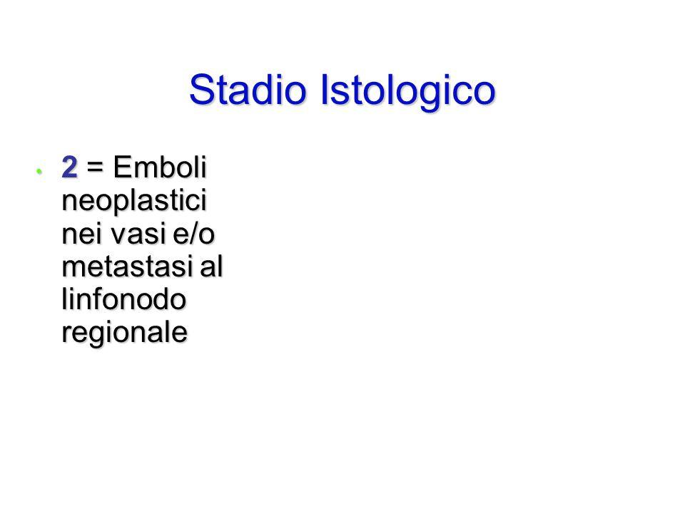 2 = Emboli neoplastici nei vasi e/o metastasi al linfonodo regionale 2 = Emboli neoplastici nei vasi e/o metastasi al linfonodo regionale Stadio Istol