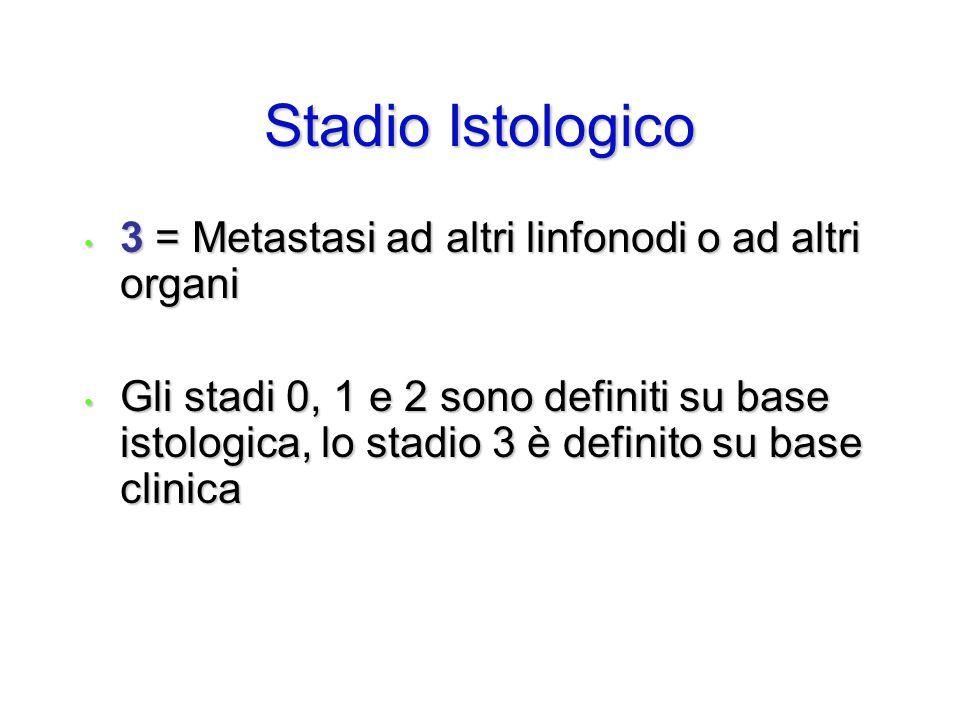3 = Metastasi ad altri linfonodi o ad altri organi 3 = Metastasi ad altri linfonodi o ad altri organi Gli stadi 0, 1 e 2 sono definiti su base istolog