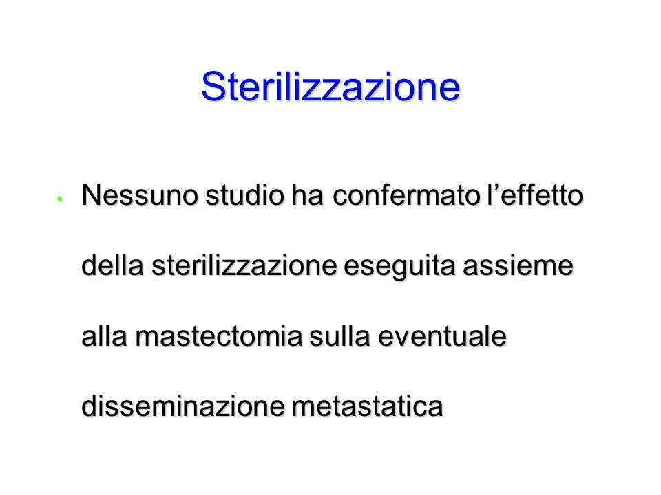 Nessuno studio ha confermato l'effetto della sterilizzazione eseguita assieme alla mastectomia sulla eventuale disseminazione metastatica Nessuno stud