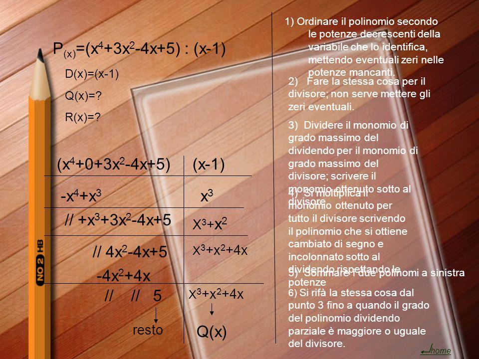 P (x) =(x 4 +3x 2 -4x+5): (x-1) D(x)=(x-1) Q(x)=? R(x)=? (x 4 +0+3x 2 -4x+5)(x-1) x3x3 -x 4 +x 3 // +x 3 +3x 2 -4x+5 X3+x2X3+x2 // 4x 2 -4x+5 X 3 +x 2