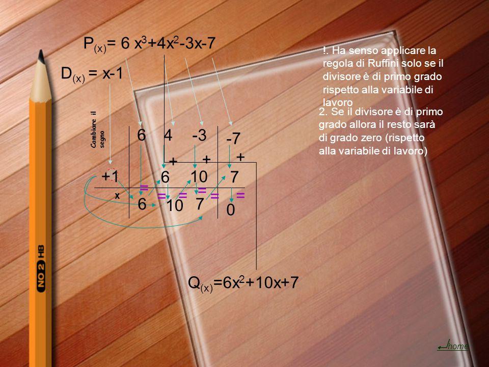 P (x) = 6 x 3 +4x 2 -3x-7 6 4-3 -7 +1 Cambiare il segno D (x) = x-1 6 x 6 + 10 + 7 7 0 + Q (x) =6x 2 +10x+7 = = = = = = !. Ha senso applicare la regol
