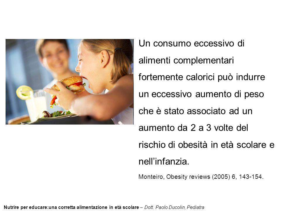 Nutrire per educare:una corretta alimentazione in età scolare – Dott. Paolo Ducolin, Pediatra Un consumo eccessivo di alimenti complementari fortement