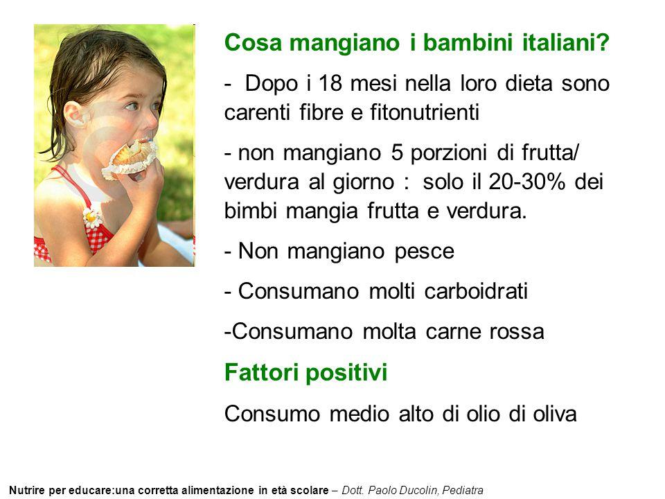 Nutrire per educare:una corretta alimentazione in età scolare – Dott. Paolo Ducolin, Pediatra Cosa mangiano i bambini italiani? - Dopo i 18 mesi nella