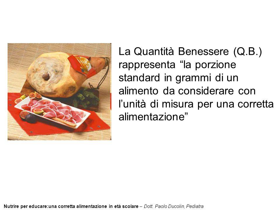 """Nutrire per educare:una corretta alimentazione in età scolare – Dott. Paolo Ducolin, Pediatra La Quantità Benessere (Q.B.) rappresenta """"la porzione st"""