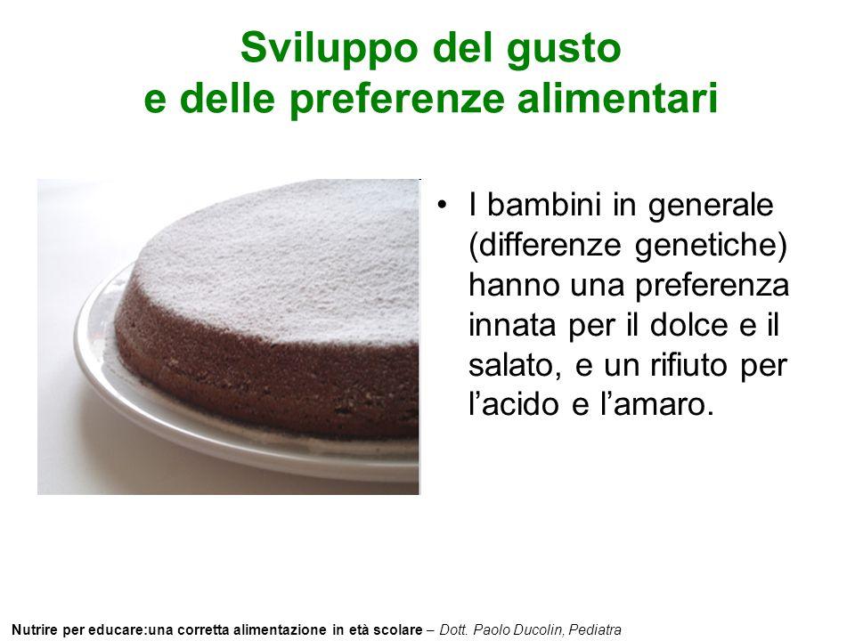 Nutrire per educare:una corretta alimentazione in età scolare – Dott. Paolo Ducolin, Pediatra Sviluppo del gusto e delle preferenze alimentari I bambi