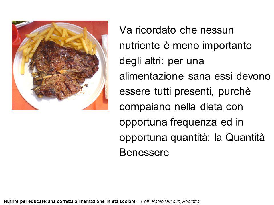 Nutrire per educare:una corretta alimentazione in età scolare – Dott. Paolo Ducolin, Pediatra Va ricordato che nessun nutriente è meno importante degl