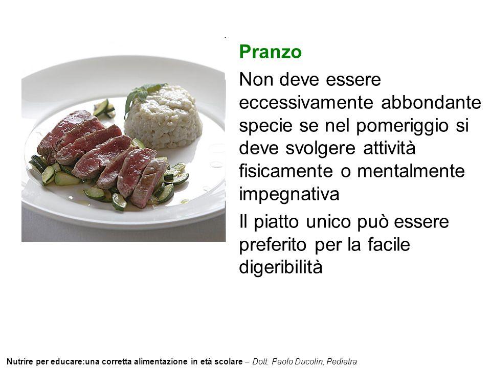 Nutrire per educare:una corretta alimentazione in età scolare – Dott. Paolo Ducolin, Pediatra Pranzo Non deve essere eccessivamente abbondante specie