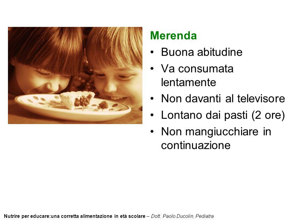 Nutrire per educare:una corretta alimentazione in età scolare – Dott. Paolo Ducolin, Pediatra Merenda Buona abitudine Va consumata lentamente Non dava