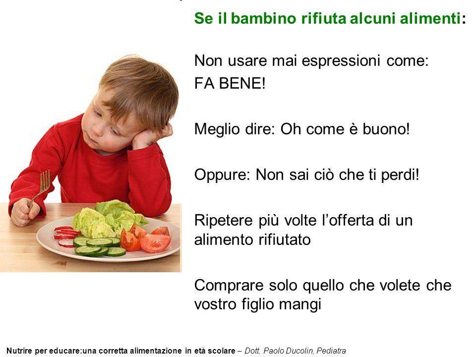 Nutrire per educare:una corretta alimentazione in età scolare – Dott. Paolo Ducolin, Pediatra Se il bambino rifiuta alcuni alimenti: Non usare mai esp