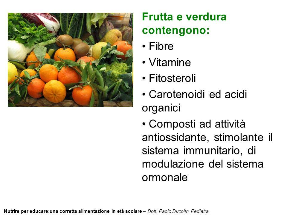 Nutrire per educare:una corretta alimentazione in età scolare – Dott. Paolo Ducolin, Pediatra Frutta e verdura contengono: Fibre Vitamine Fitosteroli