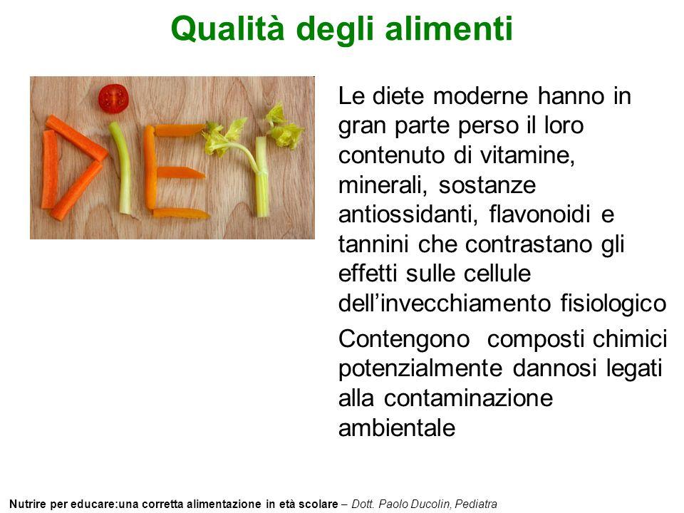 Nutrire per educare:una corretta alimentazione in età scolare – Dott. Paolo Ducolin, Pediatra Qualità degli alimenti Le diete moderne hanno in gran pa