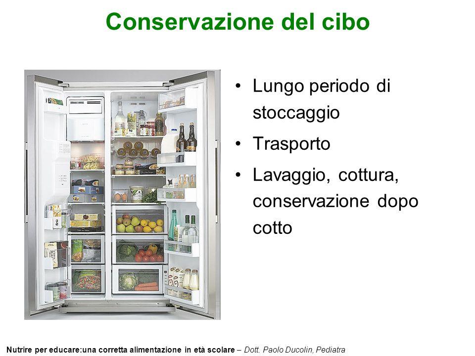 Nutrire per educare:una corretta alimentazione in età scolare – Dott. Paolo Ducolin, Pediatra Conservazione del cibo Lungo periodo di stoccaggio Trasp