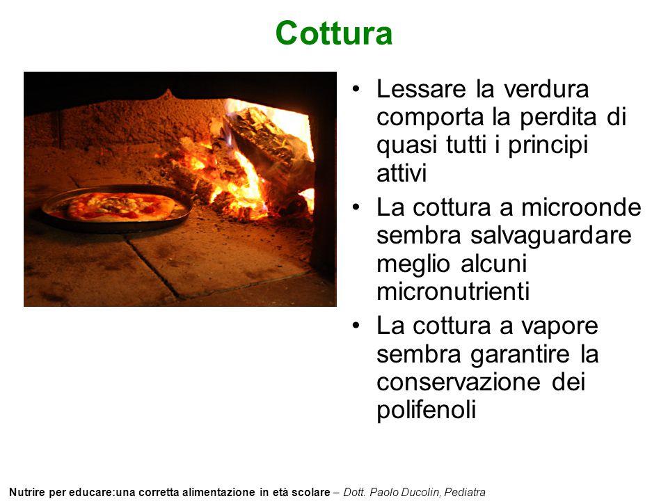 Nutrire per educare:una corretta alimentazione in età scolare – Dott. Paolo Ducolin, Pediatra Cottura Lessare la verdura comporta la perdita di quasi