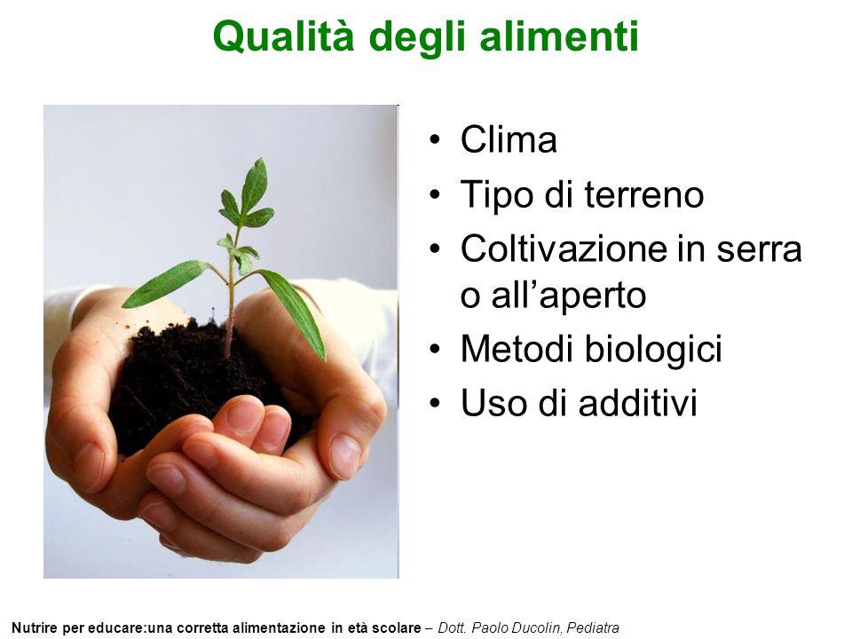 Nutrire per educare:una corretta alimentazione in età scolare – Dott. Paolo Ducolin, Pediatra Qualità degli alimenti Clima Tipo di terreno Coltivazion