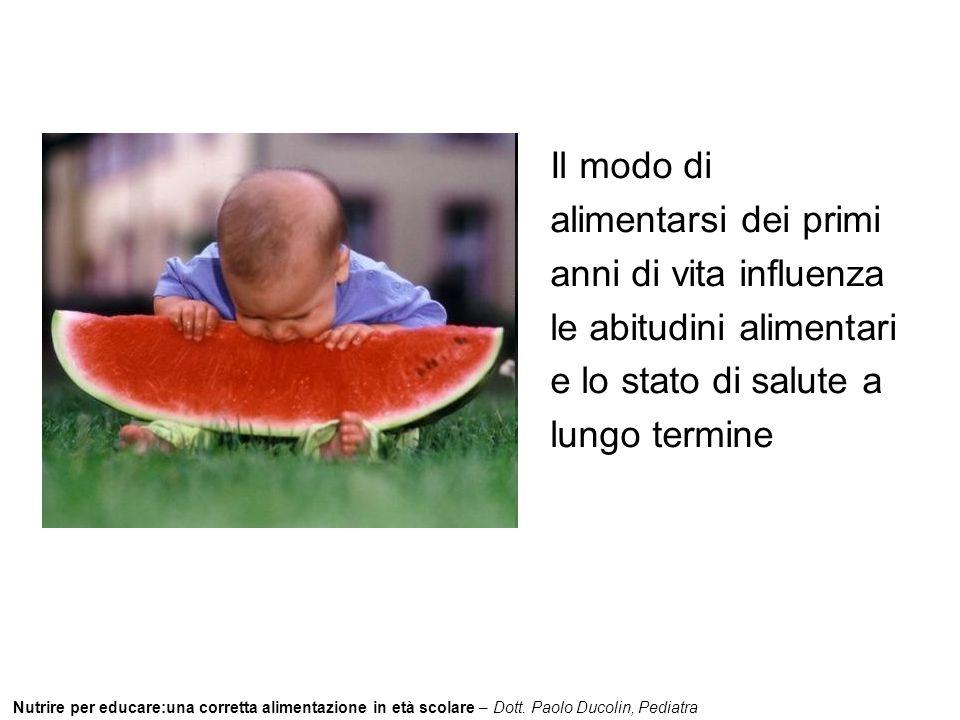 Nutrire per educare:una corretta alimentazione in età scolare – Dott. Paolo Ducolin, Pediatra Il modo di alimentarsi dei primi anni di vita influenza