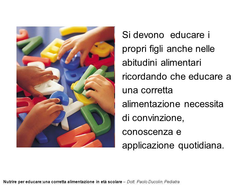 Nutrire per educare:una corretta alimentazione in età scolare – Dott. Paolo Ducolin, Pediatra Si devono educare i propri figli anche nelle abitudini a