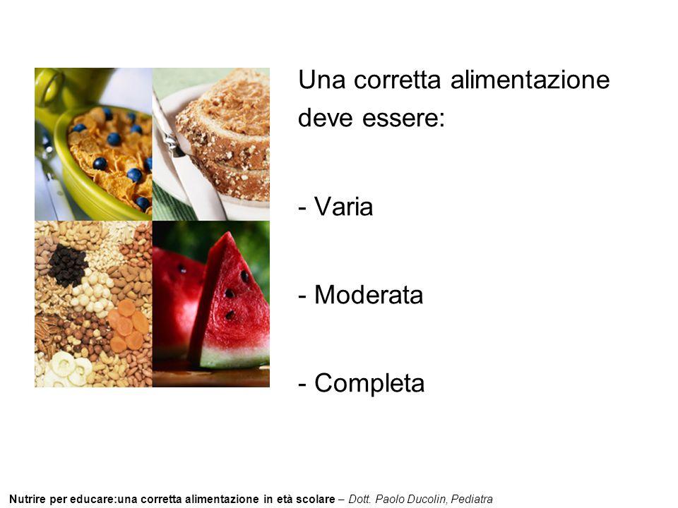 Nutrire per educare:una corretta alimentazione in età scolare – Dott. Paolo Ducolin, Pediatra Una corretta alimentazione deve essere: - Varia - Modera