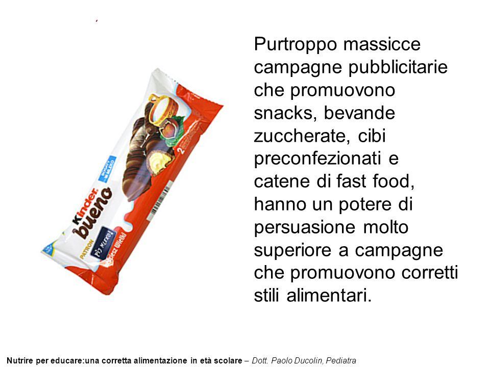 Nutrire per educare:una corretta alimentazione in età scolare – Dott. Paolo Ducolin, Pediatra Purtroppo massicce campagne pubblicitarie che promuovono