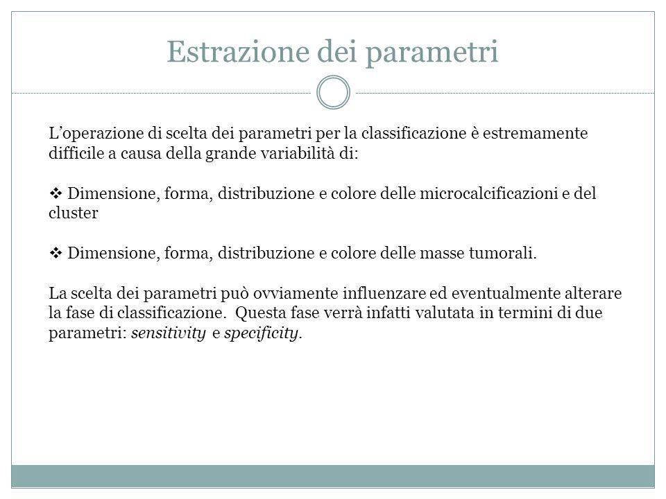 Estrazione dei parametri L'operazione di scelta dei parametri per la classificazione è estremamente difficile a causa della grande variabilità di:  D