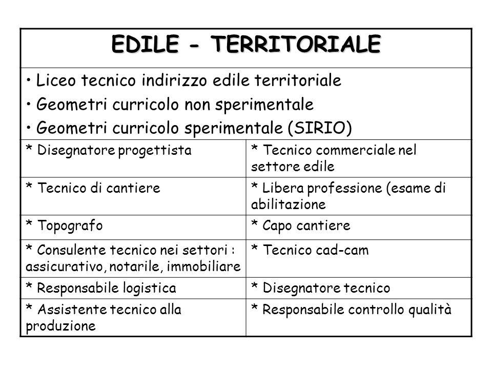 EDILE - TERRITORIALE Liceo tecnico indirizzo edile territoriale Geometri curricolo non sperimentale Geometri curricolo sperimentale (SIRIO) * Disegnat