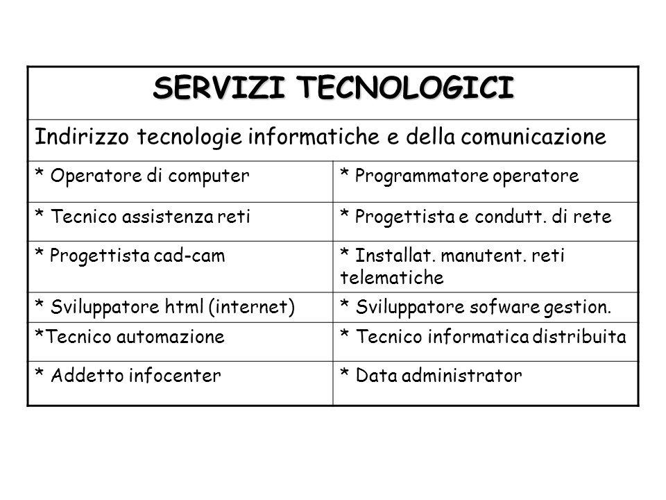 SERVIZI TECNOLOGICI Indirizzo tecnologie informatiche e della comunicazione * Operatore di computer* Programmatore operatore * Tecnico assistenza reti