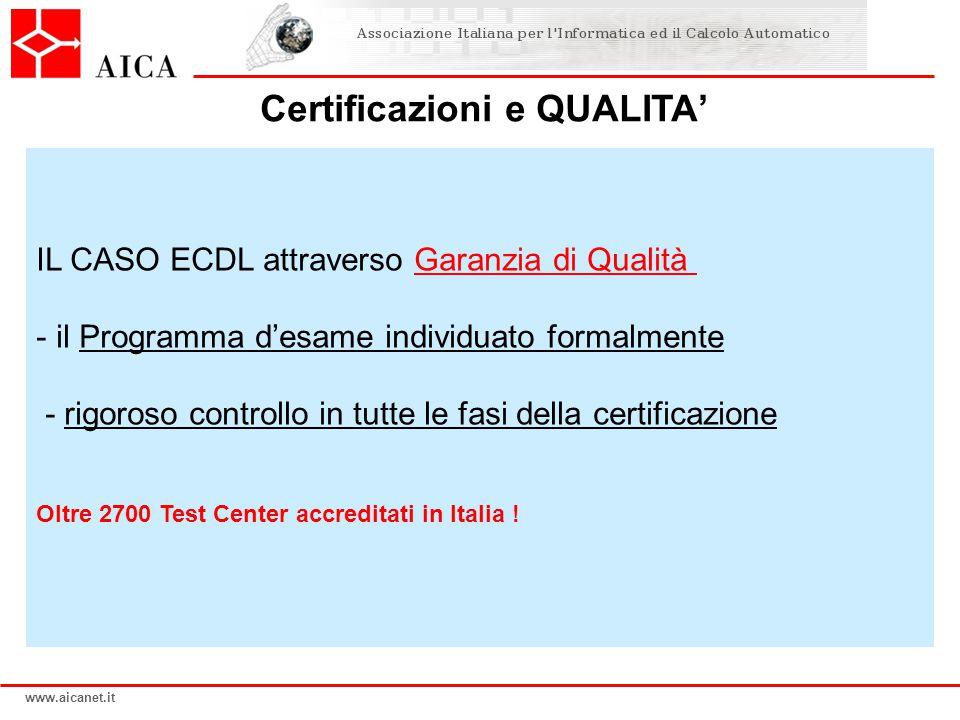 www.aicanet.it IL CASO ECDL attraverso Garanzia di Qualità - il Programma d'esame individuato formalmente - rigoroso controllo in tutte le fasi della certificazione Oltre 2700 Test Center accreditati in Italia .