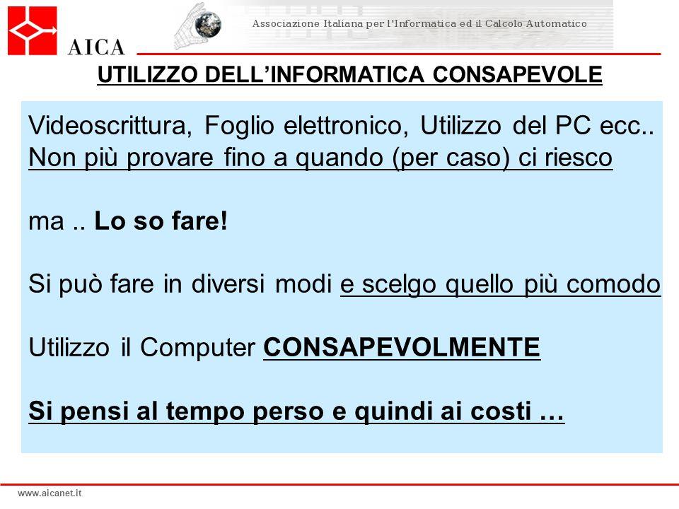 www.aicanet.it Videoscrittura, Foglio elettronico, Utilizzo del PC ecc..