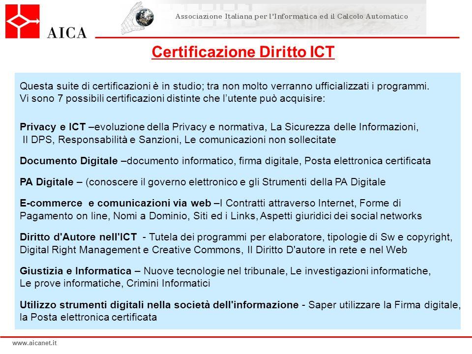 www.aicanet.it Questa suite di certificazioni è in studio; tra non molto verranno ufficializzati i programmi.