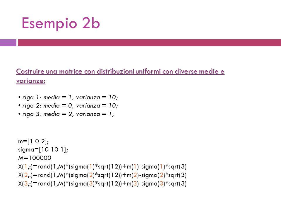 Esempio 2b m=[1 0 2]; sigma=[10 10 1]; M=100000 X(1,:)=rand(1,M)*(sigma(1)*sqrt(12))+m(1)-sigma(1)*sqrt(3) X(2,:)=rand(1,M)*(sigma(2)*sqrt(12))+m(2)-sigma(2)*sqrt(3) X(3,:)=rand(1,M)*(sigma(3)*sqrt(12))+m(3)-sigma(3)*sqrt(3) Costruire una matrice con distribuzioni uniformi con diverse medie e varianze: riga 1: media = 1, varianza = 10; riga 2: media = 0, varianza = 10; riga 3: media = 2, varianza = 1;